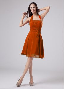 On Sale Orange Sleeveless Knee Length Ruching Zipper Mother Of The Bride Dress