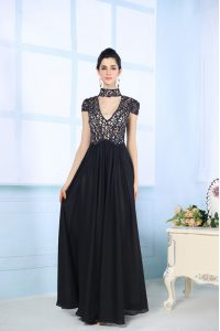 Black High-neck Zipper Beading and Lace Mother Of The Bride Dress Short Sleeves