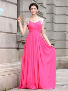 Shining Hot Pink Silk Like Satin Zipper Mother Of The Bride Dress Cap Sleeves Floor Length Beading