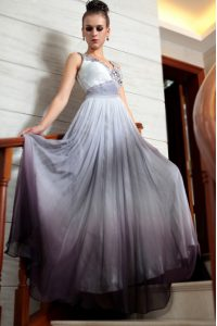 Multi-color Column/Sheath V-neck Sleeveless Chiffon Floor Length Side Zipper Beading and Appliques and Ruching Mother Of The Bride Dress