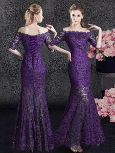Chic Mermaid Off the Shoulder Half Sleeves Lace Floor Length Lace Up Mother Of The Bride Dress in Eggplant Purple with Lace