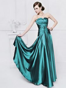 Clearance Teal Mother Of The Bride Dress Prom and Party with Ruching Strapless Sleeveless Lace Up