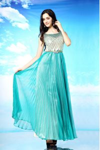 Turquoise Scoop Side Zipper Pleated Mother Of The Bride Dress Sleeveless