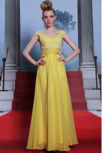 Scalloped Yellow Short Sleeves Beading and Appliques and Pleated Floor Length Mother Of The Bride Dress