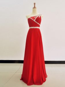 High Class One Shoulder Chiffon Sleeveless Floor Length Mother Of The Bride Dress and Beading