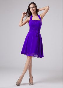 Knee Length Purple Mother Of The Bride Dress Halter Top Sleeveless Zipper