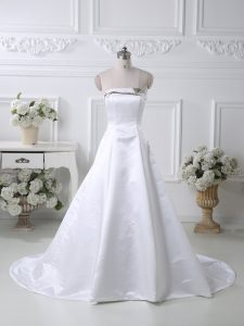 Sleeveless Satin Court Train Lace Up Mother of Groom Dress in White with Ruching