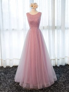 Glittering Pink Zipper Mother Of The Bride Dress Beading and Belt Sleeveless Floor Length