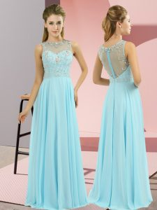 Baby Blue Empire Chiffon High-neck Sleeveless Beading Floor Length Zipper Mother Of The Bride Dress