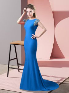 Beauteous Short Sleeves Brush Train Beading Backless Mother Of The Bride Dress