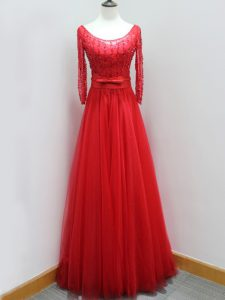 On Sale Red Mother Of The Bride Dress Tulle Brush Train Long Sleeves Beading and Belt