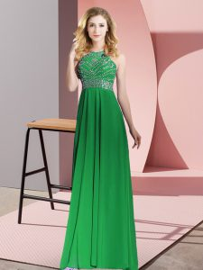 Shining Green Chiffon Backless Scoop Sleeveless Floor Length Mother Of The Bride Dress Beading