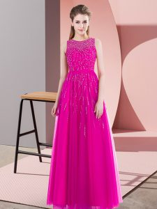 Tulle Scoop Sleeveless Side Zipper Beading Mother Of The Bride Dress in Fuchsia