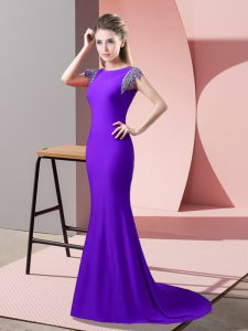 High-neck Short Sleeves Brush Train Backless Mother Of The Bride Dress Lavender Elastic Woven Satin