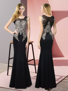 Fitting Black Sleeveless Appliques Floor Length Mother Of The Bride Dress