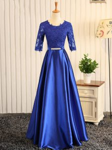 Floor Length Blue Mother Of The Bride Dress Elastic Woven Satin Half Sleeves Embroidery and Belt