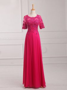 Scoop Half Sleeves Mother Of The Bride Dress Floor Length Lace and Appliques Hot Pink Chiffon