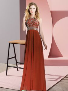 Scoop Sleeveless Backless Mother Of The Bride Dress Rust Red Chiffon