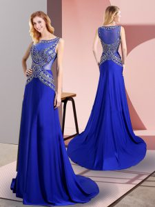 Vintage Chiffon Scoop Sleeveless Sweep Train Side Zipper Beading Mother Of The Bride Dress in Royal Blue