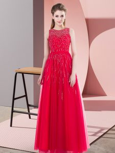 Coral Red Sleeveless Tulle Side Zipper Mother Of The Bride Dress for Prom and Party