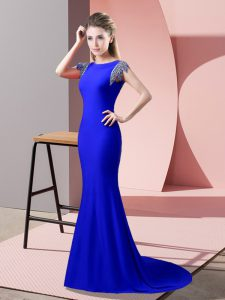 Fantastic Royal Blue High-neck Backless Beading Mother Of The Bride Dress Brush Train Short Sleeves