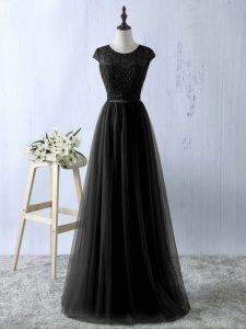 Fitting Black Tulle Zipper Scoop Sleeveless Floor Length Mother Of The Bride Dress Lace