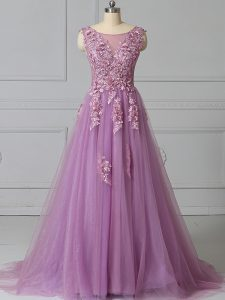 Fancy Tulle Scoop Sleeveless Brush Train Lace Up Appliques and Pattern Mother Of The Bride Dress in Lilac