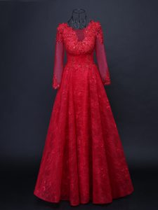 High Class Red Scoop Neckline Lace and Appliques Mother Of The Bride Dress Long Sleeves Lace Up