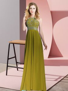 Floor Length Olive Green Mother Of The Bride Dress Scoop Sleeveless Backless