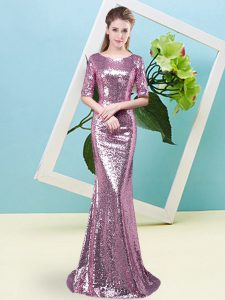 Glittering Fuchsia Mother Of The Bride Dress Prom and Party with Sequins Scoop Half Sleeves Zipper