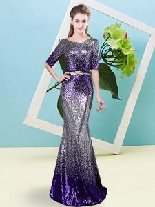 Dynamic Scoop Half Sleeves Zipper Mother Of The Bride Dress Multi-color Sequined