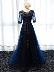 Most Popular Navy Blue Lace Up Mother Of The Bride Dress Lace and Appliques Half Sleeves Floor Length