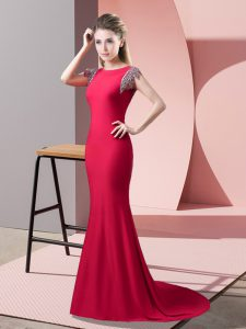 Custom Designed High-neck Short Sleeves Mother Of The Bride Dress Brush Train Beading Coral Red Elastic Woven Satin