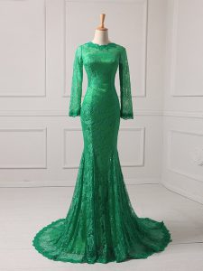 Green Mermaid Lace Scoop Long Sleeves Lace Zipper Mother Of The Bride Dress Brush Train