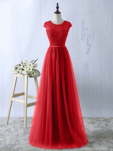 Luxury Red Zipper Mother Of The Bride Dress Lace Short Sleeves Floor Length