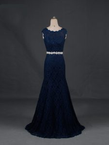 Navy Blue Sleeveless Beading Floor Length Mother Of The Bride Dress