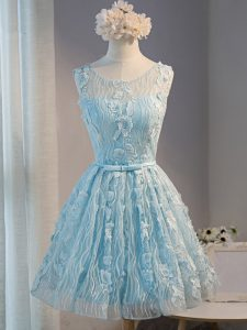 Cute Mini Length Light Blue Mother Of The Bride Dress Tulle Sleeveless Lace and Appliques