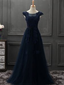 Most Popular Scoop Sleeveless Mother Of The Bride Dress Mini Length Beading and Lace and Appliques Navy Blue Tulle