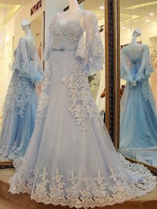 Inexpensive A-line Long Sleeves Light Blue Mother Of The Bride Dress Court Train Lace Up