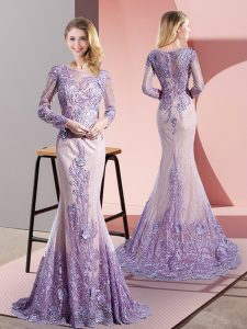 Lavender Zipper Mother Of The Bride Dress Beading and Appliques Long Sleeves Sweep Train