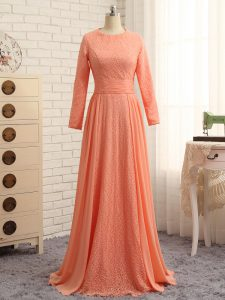 Pretty Orange Column/Sheath Lace Mother Of The Bride Dress Zipper Chiffon Long Sleeves Floor Length