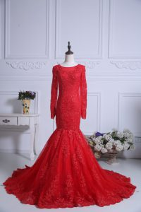 Lace Mother Of The Bride Dress Red Zipper Long Sleeves Court Train