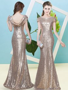Glittering Floor Length Zipper Mother Of The Bride Dress Champagne for Prom and Party with Sequins