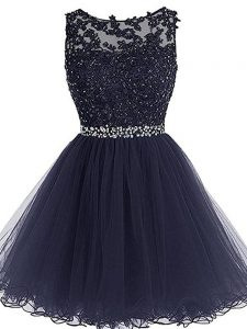 Unique Scoop Sleeveless Zipper Mother Of The Bride Dress Navy Blue Tulle