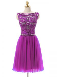 Fitting Fuchsia Tulle Zipper Bateau Sleeveless Mini Length Mother Of The Bride Dress Beading