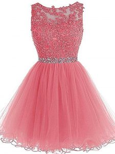 Fabulous Mini Length Pink Mother Of The Bride Dress Tulle Sleeveless Beading and Lace and Appliques and Ruffles
