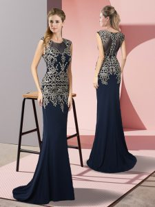 Navy Blue Sleeveless Sweep Train Appliques Mother Of The Bride Dress