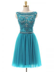 Fashion Bateau Sleeveless Zipper Mother Of The Bride Dress Teal Tulle