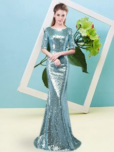 Baby Blue Scoop Zipper Sequins Mother Of The Bride Dress Half Sleeves