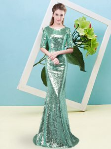 Colorful Turquoise Mother of Bride Dresses Prom and Party with Sequins Scoop Half Sleeves Zipper